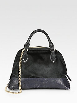 Olivia Harris - Haircalf & Leather Bowler Bag