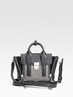 3.1 Phillip Lim - Pashli Two-Tone Mini Shark Embossed Leather Satchel