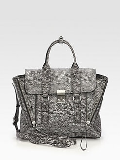 3.1 Phillip Lim - Pashli Shark Embossed Leather Medium Satchel