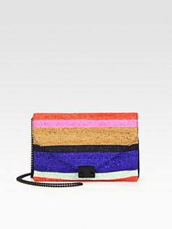 Loeffler Randall - Striped Woven Raffia Convertible Clutch