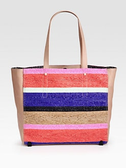 Loeffler Randall - Striped Woven Raffia East West Tote