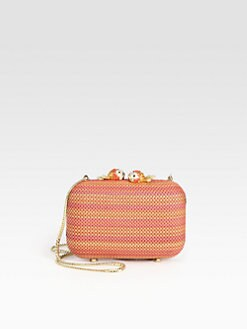 Love Moschino - Woven PVC Minaudiere Clutch