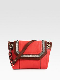 Milly - Zoey Snake-Embossed Leather Shoulder Bag