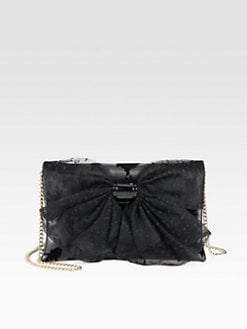 RED Valentino - Mesh Bow Velvet-Flocked Leather Shoulder Bag