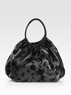 RED Valentino - Floral Velvet-Flocked Leather Shoulder Bag