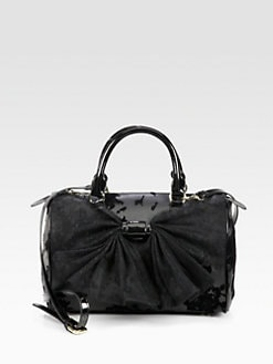 RED Valentino - Mesh Bow Velvet-Flocked Leather Duffle Bag