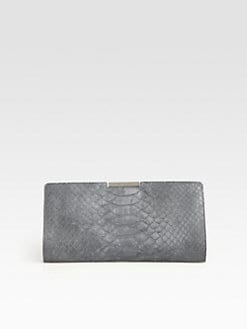 Milly - Reece Python-Embossed Leather Clutch