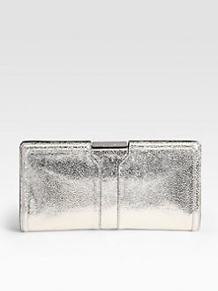 Milly - Iris Metallic Pebbled Leather Clutch
