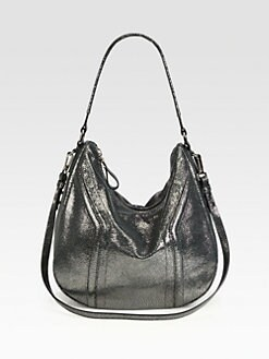 Milly - Iris Metallic Pebbled Leather Bucket Bag