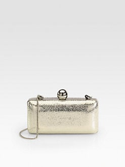Milly - Iris Metallic Pebbled Leather Minaudiere Clutch