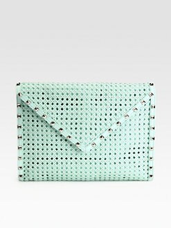 Rebecca Minkoff - Owen Woven Leather Envelope Clutch
