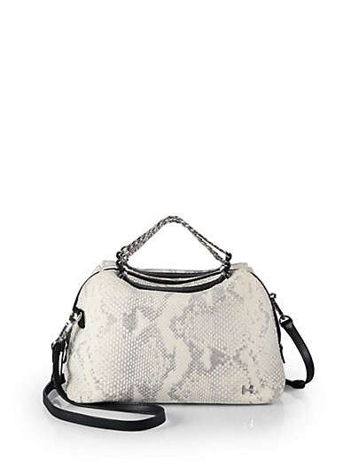 Snake-Embossed Leather Baby Chain Satchel