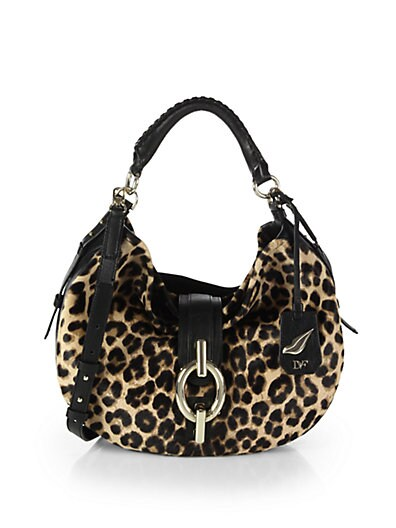 Sutra Leopard-Print Haircalf  Leather Hobo