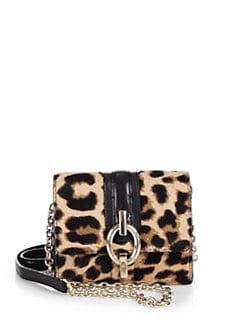 6a938ca283b2 Diane von Furstenberg Sutra Micro Mini Leopard Hair Calf Shoulder Bag