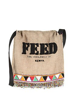 FEED - Beaded Burlap Messenger Bag
