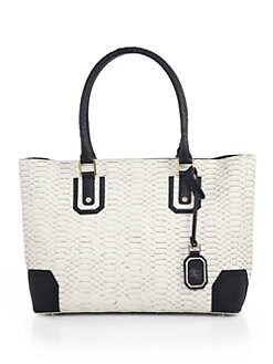 Alice + Olivia - Snake-Embossed Two-Tone Leather Tote
