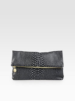 CLARE VIVIER - Snake-Embossed Leather Fold-Over Clutch