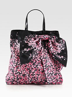 RED Valentino - Floral Printed Nylon Bow Tote