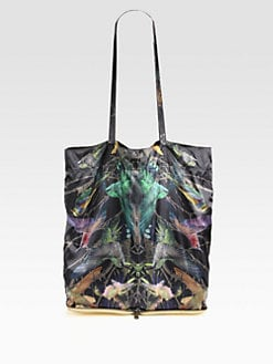 McQ Alexander McQueen - Black Bird Nylon & Leather Package Tote Bag