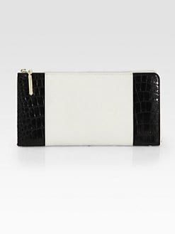 3.1 Phillip Lim - Mixed-Media Colorblock Zip-Around Travel Wallet