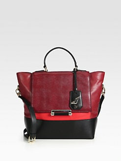 Diane von Furstenberg - Colorblocked Embossed Leather Shoulder Tote