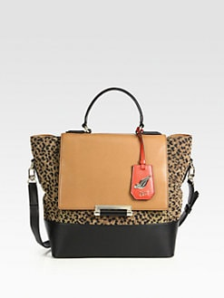 Diane von Furstenberg - Leather and Chenille Shoulder Tote