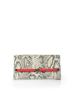 Diane von Furstenberg - Python-Embossed Leather Clutch