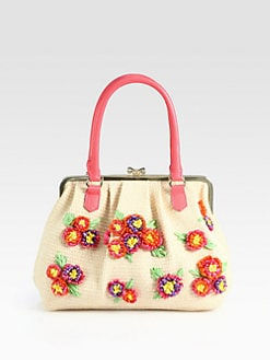 RED Valentino - Embroidered Raffia Satchel