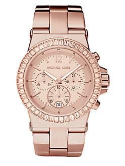 Michael Kors - Dylan Rose Goldtone Stainless Steel & Crystal Chronograph Bracelet Watch