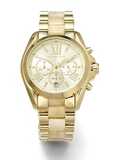 Michael Kors - Horn-Print Goldtone Stainless Steel Chronograph Watch