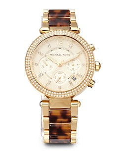 Michael Kors - Crystal & Tortoise-Print Goldtone Stainless Steel Chronograph Watch