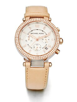 Michael Kors - Crystal Rose Goldtone Stainless Steel Chronograph Watch