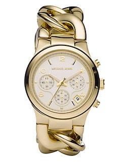 Michael Kors - Runway Twist Goldtone IP Stainless Steel Chronograph Bracelet Watch