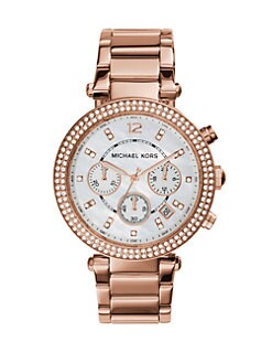Michael Kors - Parker Rose Goldtone Stainless Steel, Mother-of-Pearl & Crystal Chronograph Bracelet Watch