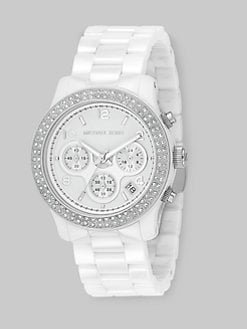 Michael Kors - Stainless Steel Ceramic Chronograph Bracelet Watch