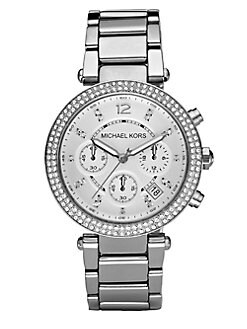 Michael Kors - Crystal Chronograph Bracelet Watch/Silver