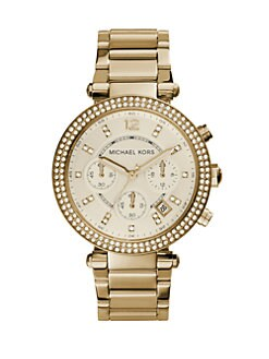 Michael Kors - Crystal Chronograph Bracelet Watch/Gold