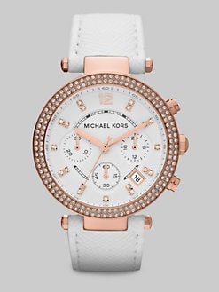 Michael Kors - Crystal & Rose Goldtone Stainless Steel Chronograph Watch