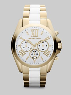 Michael Kors - Goldtone Stainless Steel & Ceramic Chronograph Watch