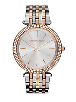 Michael Kors - Tri-tone Stainless Steel & Crystal Watch