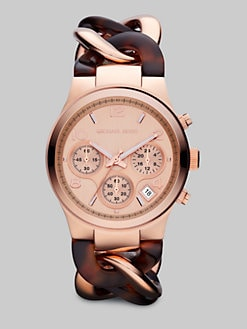 Michael Kors - Rose Goldtone Stainless Steel & Tortoise-Print Link Chain Chronograph Watch