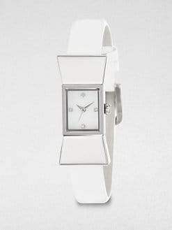 Kate Spade New York - Carlyle Stainless Steel Bow Patent Leather Strap Watch