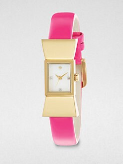 Kate Spade New York - Carlyle Goldtone Bow Patent Leather Strap Watch