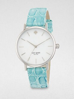 Kate Spade New York - Metro Stainless Steel Embossed Leather Strap Watch/Blue
