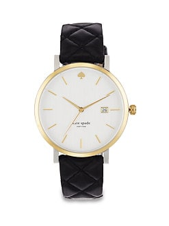 Kate Spade New York - Metro Two-Tone Quilted Leather Strap Watch