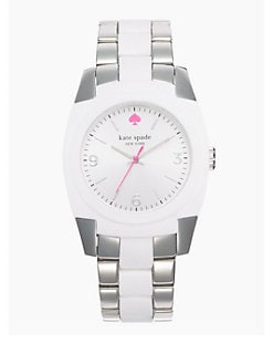 Kate Spade New York - Skyline Stainless Steel and White Bracelet Watch