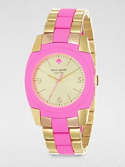 Kate Spade New York - Skyline Goldtone and Pink Bracelet Watch