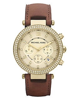 Michael Kors - Swarovski Crystal Accented Leather Chronograph Watch