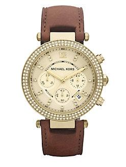 Michael Kors - Swarovski Crystal Leather Chronograph Watch