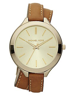 Michael Kors - Leather & Goldtone Stainless Steel Double-Wrap Watch